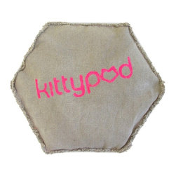 Elizabeth Paige Smith - Kittypod Geodome Sac - Kitty will be sitting pretty on this hexagonal pillow case specially made to fit inside the Kittypod Geodome. Fill the hemp case with beans to make a cushy bed that adds weight and stability so you can stack the shelters into a house cat hotel.