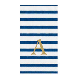 Frontgate - Caspari Bretagne Guest Towels - Triple-ply tissue. Biodegradable and compostable. Disposability reduces cleanup time. Personalization available. Our vibrantly colored, classically striped Caspari Bretagne Guest Towels will add a nautical and patriotic feeling to your decor. Made using environmentally friendly raw materials, this set of 100 towels is printed with non-toxic, water-soluble dyes.  .  .  .  . Please note: Personalized items are nonreturnable.