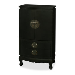 China Furniture and Arts - Black Ming Style Jewelry Armoire - Distinct in its simple clean lines, this handsome jewelry chest is a fine example of Ming furniture style. Four drawers are revealed before you upon opening the double doors of this exquisite jewelry cabinet. The inside of the doors are nicely felted and has a line of gold-plated hooks on each side to hang necklaces or other stringed articles. At bottom two large felted drawers provide additional storage The hand-forged brassware is the symbol of unity. This cabinet has plenty of room to store jewelries or use it as a lingerie chest. Black matte finish. Assembled.