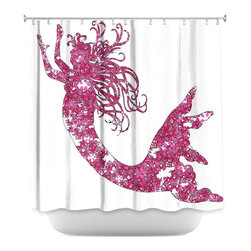 DiaNoche Designs - Shower Curtain Artistic - Mermaid Pink - DiaNoche Designs works with artists from around the world to bring unique, artistic products to decorate all aspects of your home.  Our designer Shower Curtains will be the talk of every guest to visit your bathroom!  Our Shower Curtains have Sewn reinforced holes for curtain rings, Shower Curtain Rings Not Included.  Dye Sublimation printing adheres the ink to the material for long life and durability. Machine Wash upon arrival for maximum softness on cold and dry low.  Printed in USA.