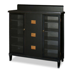 China Furniture and Arts - Zhou Yi Three Door Cabinet - To inspire your decorating imagination and creativity, this cabinet is uniquely built with a raised back. Following the Ming aesthetic principle, the spare and sleek surface is only accentuated with three square plaques in the original color of the wood, on which passages from I Ching, the ancient Book of Change of Taoism, are carved in Chinese calligraphy. The center panel serves as a sliding door. Multiple shelves provide ample storage space. Made of solid elm wood with beautiful black distressed finish.