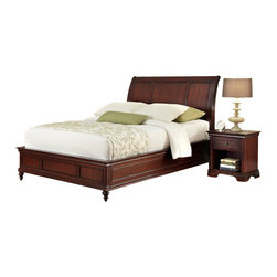 Home Styles - Home Styles Lafayette 3 Piece Sleigh Bed Set-Queen - Home Styles - Beds - 55375022 - An opulence of design heightens the allure of the Lafayette Bedroom collection. Lafayette Sleigh Bed and Nightstand by Home Styles is inspired by Ancestral traditional design.