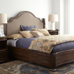 "Horchow - ""Biscayne"" Bedroom Furniture - Create your own elegant five-star retreat just down the hall with this beautifully finished bedroom furniture. Handcrafted of pine. Panel beds have polyester/linen upholstered insets in headboards. Bench has polyester/linen upholstery. Queen panel b..."