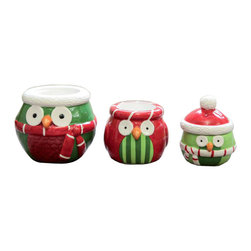 Stack the Owl Tealight Holders - Set of 3 - Ancient mythology says that the constant sighting of an owl will bring protection. Showcase your love for tealight candles, wintertime, and hoo-rific owls with a simple strike of a match. Stacked on top of one another, clustered together, or scattered about a room, these protecting friends will make a statement with any décor.