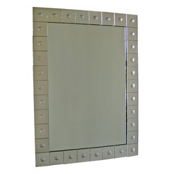 """Ren-Wil - Ren-Wil MT771 Portrait Mirror in All Glass - This stylish mirror is uniquely designed to accent your walls giving it a sleek clean modern edge. With """"Bubbles"""" embedded inside the square mirrors forming the frame this sharp mirror is sure to make a statement!"""