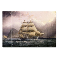 Picture-Tiles, LLC - American Frigate Off Gilbraltar Tile Mural By James Buttersworth - * MURAL SIZE: 48x72 inch tile mural using (24) 12x12 ceramic tiles-satin finish.