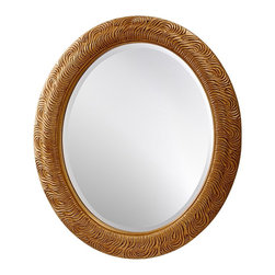 "Feiss - Traditional Feiss Arlene 36"" High Oval Wall Mirror - This oval wall mirror from Murray Feiss exudes glamour and old-world style. From the Arlene Collection the frame features a textured curvilinear pattern. It's finished in a warm pale antique gold for a glowing effect. Hang it vertically or horizontally to work with your decor. From the Arlene Collection. Textured oval frame finished in pale antique gold. Polyurethane construction. Hang vertically or horizontally. 36"" high. 30"" wide. 1 3/4"" deep. Mirror glass only is 28"" high 22"" wide. Hang weight 12 3/4 lbs.  A Feiss wall mirror design.  From the Arlene Collection.  Textured oval frame finished in pale antique gold.  Polyurethane construction.  Hang vertically or horizontally.  36"" high.  30"" wide.  1 3/4"" deep.  Mirror glass only is 28"" high 22"" wide.  Hang weight 12 3/4 lbs."