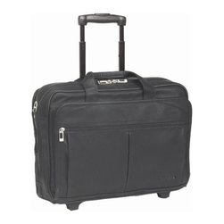 """SOLO CASES - Full Grain Leather Rolling Laptop Case - Features: -Removable CheckFast Sleeve holds laptops up to 15.6"""" -Front zippered compartment features organizer with Velcro flap closure mesh pocket, open and zippered pockets, disk pockets, business card holder, and key flap -Back compartment contains additional accessory pockets and hidden, retractable handle system with protective bottom skid guard -Adjustable/removable shoulder strap with extra-cushioned, ergonomic, non-slip pad -Cushioned carry handles for comfortable carrying -Telescoping handle system -5-Year Warranty -Laptop pocket dimensions: 11"""" x 15.5"""" x 2"""" -Overall Dimensions: 13.5"""" H x 17"""" W x 8"""" D"""