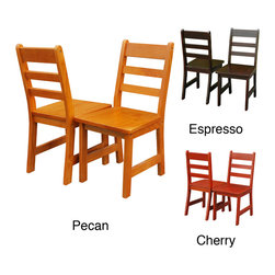 None - Children's Chair (Set of 2) - Your children will love sitting down to the table in these comfortable wooden childrens chairs. Each set of 2 chairs comes in several colors,including espresso,pecan,or cherry to match your decor. They are made from durable,100 percent solid wood.