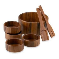 Pinwood 1999 Co., Ltd/li & Fung - Acacia 7-Piece Salad Bowl Set - Handsome and modern, this salad set is designed to let the genuine wood grain show through the color.