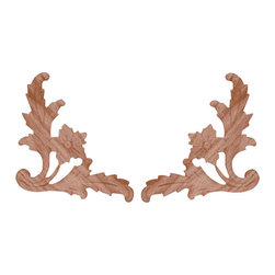 "AW-114 Pair, Right and Left, Birch Embossed Wood Appliques - 6"" x 6"" Pair, Right and Left, Birch Embossed Wood Appliques, Perfect for Paint and Stain grade projects."