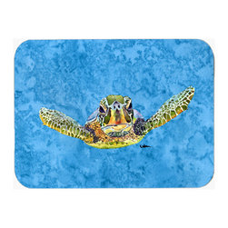 Caroline's Treasures - Turtle Kitchen Or Bath Mat 24X36 - Turtle Kitchen / Bath Mat 24x36 - 24 inches by 36 inches. Permanently dyed and fade resistant. Great for the Kitchen, Bath, outside the hot tub or just in the door from the swimming pool.    Use a garden hose or power washer to chase the dirt off of the mat.  Do not scrub with a brush.  Use the Vacuum on floor setting.  Made in the USA.  Clean stain with a cleaner that does not produce suds.