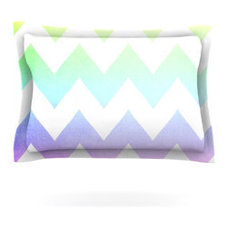 """Kess InHouse - Catherine McDonald """"Water Color"""" Chevron Pillow Sham (Cotton, 30"""" x 20"""") - Pairing your already chic duvet cover with playful pillow shams is the perfect way to tie your bedroom together. There are endless possibilities to feed your artistic palette with these imaginative pillow shams. It will looks so elegant you won't want ruin the masterpiece you have created when you go to bed. Not only are these pillow shams nice to look at they are also made from a high quality cotton blend. They are so soft that they will elevate your sleep up to level that is beyond Cloud 9. We always print our goods with the highest quality printing process in order to maintain the integrity of the art that you are adeptly displaying. This means that you won't have to worry about your art fading or your sham loosing it's freshness."""