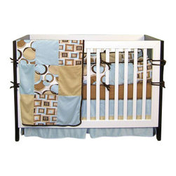 "Trend Lab - Teal Bubbles - Crib Bedding Set (4 Pc.) - Teal Bubbles is a sixteen patch coverlet featuring floating circles print, optic squares print and two brown tones mixed with teal.  Set includes fitted 100% cotton woven light brown sheet, 15"" drop flat panel box pleat skirt of solid chocolate velour with tan accent band, four separate bumpers in cushion style, patched bumper uses all fabrics including the optic squares print and floating circles print alongside the two brown tones with teal accents.  Bumper has chocolate velour trim and ties."