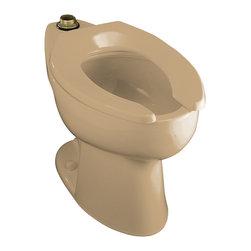 KOHLER - KOHLER K-4302-33 Highcrest Elongated Toilet Bowl with Top Spud, Less Seat - KOHLER K-4302-33 Highcrest elongated toilet bowl with top spud, less seat in Mexican Sand