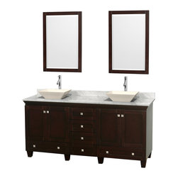 "Wyndham Collection - 72"" Acclaim Double Vanity w/ White Carrera Marble Top & Pyra Bone Porcelain Sink - Sublimely linking traditional and modern design aesthetics, and part of the exclusive Wyndham Collection Designer Series by Christopher Grubb, the Acclaim Vanity is at home in almost every bathroom decor. This solid oak vanity blends the simple lines of traditional design with modern elements like beautiful overmount sinks and brushed chrome hardware, resulting in a timeless piece of bathroom furniture. The Acclaim comes with a White Carrera or Ivory marble counter, a choice of sinks, and matching mirrors. Featuring soft close door hinges and drawer glides, you'll never hear a noisy door again! Meticulously finished with brushed chrome hardware, the attention to detail on this beautiful vanity is second to none and is sure to be envy of your friends and neighbors"