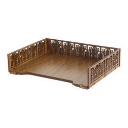 "Lightwave Laser - Frank Lloyd Wright Marin Gate Letter Tray - The Frank Lloyd Wright Marin Gate Letter Tray is a beautiful way to keep your desk looking neat and organized. Add the matching pencil/pen holder for the perfect pair. Multiple trays can also be stacked together for additional storage. The design is adapted from a vertical entrance grill of gold-anodized metal that took the place of doors in the Marin County Civic Center in San Rafael, California (1957). The center campus is Wright's largest public project of civic structures. Laser-cut wood in walnut finish. Dimensions: Ht: 3"" W: 12.75"" D: 9.75""."