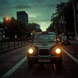 Headlights At Dusk , Fine Art Photography Print, 8X12 - This was taken in july 2012 from the back seat of a taxi cab in London! I love the taxis in london. I think the US should adopt the look of this vehicle.