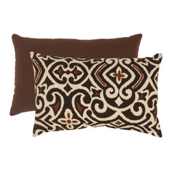 Pillow Perfect - Brown and Beige Damask Rectangular Throw Pillow - - Woven Texture  - 100% Virgin Recycled Polyester Fill  - Sewn Seam Closure  - Spot Clean Only  - Made In USA  -Please note that image shows front and back of pillow. Only one pillow is being sold. Pillow Perfect - 475172