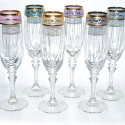 Threestar - Italian Hand-painted 14-karat Gold Rim/ Multicolor Wine Glasses (Set of 6) - Sip delicious wine in style with this attractive wine glass set. This 6-piece set is made of glass with a 14-karat Gold finish for an elegant look.