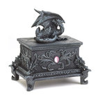KOOLEKOO - Black Dragon Treasure Box - Worthy trinkets and treasures will be protected by this fearsome dragon. Whatever you keep in this intricately carved box, it will be guarded by a resting dragon on top and four fierce dragon faces at each corner of the base, surrounded by braided detail, medieval flourishes, and highlighted by two oblong pink jewels.