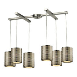 Elk Lighting - Lightgrid 6-Light Chandelier - This Lightgrid Pendant Cluster by Elk Lighting manipulates light through a laser cut pattern etched into the cylindrical, stainless steel shade. Providing ambient down light and finished in satin nickel, these light fixtures are ideal for any modern space. This mini pendant weighs 21 pounds and accepts six (6) 60 watt bulbs with a medium base. It includes six (6) feet of cord.