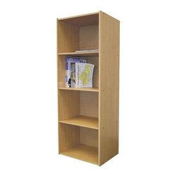 ORE International - 4-Tier Bookcase w Adjustable Shelves in Natur - 4 Level bookshelf. Adjustable shelves. Functional and sleek. Minimalist style. Scratch-resistant surface. Made from MDF. 16.5 in. W x 12 in. L x 47 in. H (30 lbs.)The unit is perfect for a children's room, home office or utility room. Books, toys, office supplies and more can be stored in this durable bookshelf.
