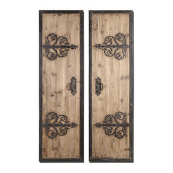 Uttermost - Uttermost Abelardo Panels 20x71 Wall Mirror (Set of 2) - These oversized, decorative wall panels are made of lightly stained rustic wood with wrought iron metal details.