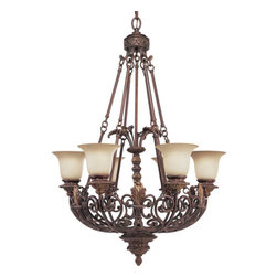 Thomasville Lighting - Thomasville Lighting P4535-75 Messina 6 Light 1 Tier Chandelier - Thomasville Lighting P4535-75 Six Light Messina Single Tier ChandelierExuding French Rococo styling, this opulent single tier, six light chandelier features ornate curled arms with embossed leaves and Baroque detailing throughout. A hand-painted Aged Mahogany finish of the incorporates decorative leaves, scrolls and intricate details with Sepia Haze Glass. This elegant fixture will make the perfect centerpiece for a dining room or foyer.Refresh interior settings with Messina's iron scroll basket motif and traditional hand-painted accents. An Aged Mahogany finish is complemented by decorative leaf details in this collection.Thomasville Lighting P4535-75 Features: