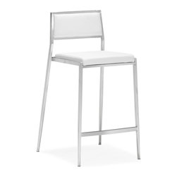 ZUO MODERN - Dolemite Counter Chair White (set of 2) - Stand out with our Dolemite counter chair. The sleek design comes in black or white leatherette on a stainless steel base.
