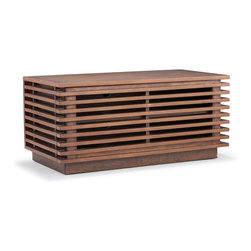 Zuo Modern - Linea Small Console Walnut - The Linea series has a clean and retro look with many functional drawers and shelves.  The exterior shell is walnut stained solid birch with MDF frame and drawers.