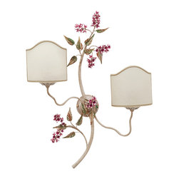 LogicSun/Montalto - Glicine - Lovely purple flowers and very realistic branch shape for this unique wall sconce in the Wisteria design. Everything is hand-made in wrought-iron and hand painted by our Tuscan craftsmen. Hand-Made In Italy. Hand-painted.