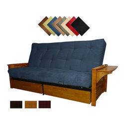 EpicFurnishings - Bellevue Microfiber Suede Inner Spring Queen-size Futon Sofa Bed Sleeper - The versatile Bellevue futon sofa sleeper provides you with a comfortable bed and a comfy sofa. It features a built-in magazine rack and two large drawers that offer plenty of room. This futons outer cover is made from quality microfiber faux suede.