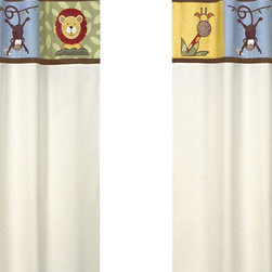 Sweet Jojo Designs - Jungle Time Ivory Window Panels (Set of 2) - The Jungle Time window curtain panel set (2 panels) will help complete the look of your Sweet Jojo Designs room. These window treatments instantly change the look and feel of any room, adding layers of warmth and style. Each of the 2 panels measures 42in. x 84in.