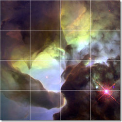 Picture-Tiles, LLC - Stars Galaxys Photo Wall Tile Mural 9 - * MURAL SIZE: 32x32 inch tile mural using (16) 8x8 ceramic tiles-satin finish.