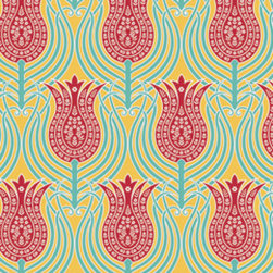 Joel Dewberry Tulips Fabric, Canary - Cheerful and bright, this whimsical pattern with a charming vintage feel truly packs a punch.