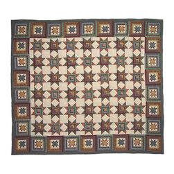 Patch Quilts - Cottage Star Quilt Twin 65 x 85 Inch - Intricate patchwork and beautiful hand quilting  - Bedding ensemble from Patch Magic  the name for the finest quality quilts and accessories  - Machine washable  - Line or Flat dry only Patch Quilts - QTCTSR