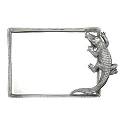 Arthur Court - Alligator Rectangular Tray - Your eye for unusual objects is naturally drawn to this beautifully detailed creature. Use this aluminum alligator to serve at your next party, or display as an example of unique reptile style.