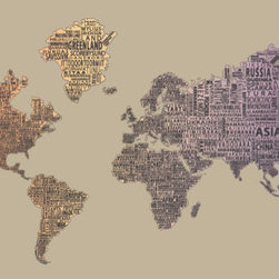 """1-World Text Map Wall Mural - Desert Fade - 3 panel - 107 x 57"""" - A modern and bold new world map! The 1-World Text Map Wall Mural features the continents of the world filled with the text of the country, city and place names, making it a modern and unique decorative map for your home or office. Available on a convenient peel & stick fabric. The peel & stick wall decal is printed on a high quality self-adhesive fabric material, making it easy to mount on any clean, smooth surface. It can be removed and repositioned with ease and without damage to the walls. A great way to give an interior space the impact of a mural without the mess and hassle of paste."""