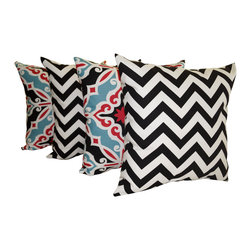 Land of Pillows - Premier Prints Harford Carmine and Zig Zag Black Chevron Throw Pillows - 4 PK, 1 - Fabric Designer - Premier Prints