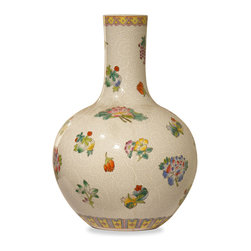 China Furniture and Arts - Hand-Painted Chinese Fruit and Flower Design Porcelain Temple Vase - Painstakingly hand-painted by artist in China, this porcelain temple vase is hand-crafted and decorated in floral and fruit motifs. Display it on a console table or niche to bring good Feng-Shui and Chi to your room. This is one-of-a-kind item to collect.