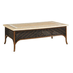 Lexington - Tommy Bahama Island Estate Lanai Rectangular Cocktail Table Base - The side panels of the cocktail table boasts the twisted woven wicker trimmed with a braided welt and varying hues to create the warm umber coloration. The weather stone top ships separate but should be attached securely before use.