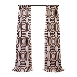 Exclusive Fabrics & Furnishings, LLC - Mecca Printed Cotton Curtain - This curtain looks thoroughly modern in bold brown and white geometrics, yet it also recalls Old World tile patterns. Made of 100-percent cotton, each 50-inch-wide panel is lined and comes in a variety of lengths. And, with both a three-inch-wide rod pocket and hidden back tabs, they can be hung a number of ways to get the look you want.