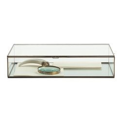 Arteriors - Fuller Document Box, Large - Designed like an antique document tray with vintage brass borders and hinges, this clear glass display box has an old-world charm that will lend a quiet elegance to your desktop or dresser. Use it to store stationery and stamps on your writing desk, as a jewelry box or to display fragile collectibles, from small antique paraphernalia to natural items like seashells.