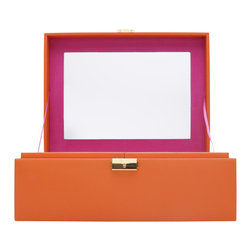 WOLF - Brighton Jewelry Box Large, Orange - Add a pop of color with the Brighton collection. Each case features a rich, saffiano leather exterior in orange, cream, or black and a contrasting plush interior.  The large jewelry box contains a vanity mirror behind the lid and two pull out trays with open compartments and a ring roll.