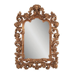 Bassett Mirror - Antique Gold Ornamental Wall Mirror - Antique Gold Finish with Distressing - Shaped. Measures: 48 in. W x 69 in. H.