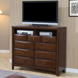 Coaster - Hillary Media Chest - The Hillary Collection is crafted from solid hardwood with Maple veneers. It is finished in warm brown. All drawers have bevelled woods fronts and are accented with brushed nickle hardware.