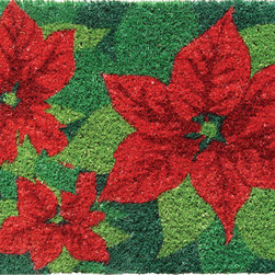 Entryways - Poinsettias Hand Woven Coconut Fiber Doormat - Designed by an artist, this distinctive mat is a work of art that will add a welcoming touch to any home. It is from Entryways' handmade collection and meets the industry's highest standards. This decorative mat is handsomely hand woven and hand stenciled.