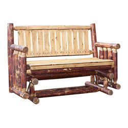 "Montana Woodworks - Montana Woodworks Glider in Glacier Country - A popular item for the front porch, this glider/Rocker is enjoyed by many. The close relative of Montana Woodworks log deck bench, this glider design incorporates glides that allow it to gently rock back and forth. Handcrafted from solid, American grown wood this glider is sure to please. Finished in the ""Glacier Country"" collection style for a truly unique, one-of-a-kind look reminiscent of the Grand Lodges of the Rockies, circa 1900. First we remove the outer bark while leaving the inner, cambium layer intact for texture and contrast. Then the finish is completed in an eight step, professional spraying process that applies stain and lacquer for a beautiful, long lasting finish. Some assembly required. 20-year limited warranty included at no additional charge."