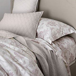 Garnet Hill - Signature Wrinkle-Resistant Verona Sateen Sheets - King - Pillowcases - Lavender - These serene paisley floral wrinkle-resistant sateen sheets are inspired by antique French textiles. 400 thread count combed long-staple Egyptian cotton bedding. Fitted sheet is fully elasticized for a better fit (deep-pocket Queen and King sizes will fit mattresses up to 15 in.).